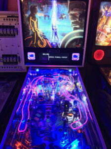 This Tron machine is based on the new movie, Tron: Legacy.